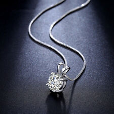 Modern Classic Women Lady Elegant CZ Crystal Pendant White Gold Plated Necklace