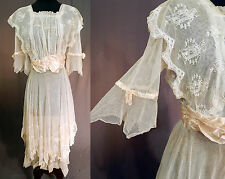 Edwardian Embroidered Cream Tulle Net Lace Handkerchief Hem Dress Tea Gown Vtg