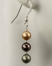 Moss Tone Mix Crystal Pearl Earrings made with Swarovski Pearls Gold Brown Green