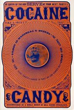Original Vintage Psychedelic Cocaine Candy Satirical Drug Poster 1967 Esoteric