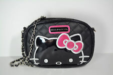 Hello Kitty Sanrio Loungefly Black Quilted Crossbody Chain Purse Silver Pink Bow