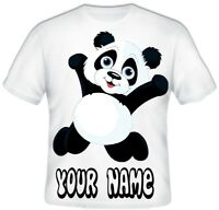 GIRLS BOYS Top Sublimation Personalised Cute PANDA T Shirt Great Gift Idea!