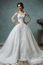 WOMENS TULLE CHAPEL TRAIN WEDDING DRESS. BRIDAL GOWN. SIZES 2-26W. HANDMADE.