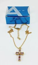 VINTAGE SIGNED DESIGNER AVON CROSS NECKLACE SIMULATED AMETHYST IN BOX GOLD NICE