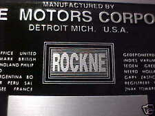 Rockne Acid Etched Data Plate 1932 -1933 built by Studebaker