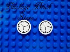 2- LEGO Decorated Round Tiles -  Clock Face Time Piece Pattern NEW
