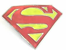 SUPERMAN BELT BUCKLE RED YELLOW ENAMEL CONTEMPORARY ACTION SUPER HERO NOVELTY