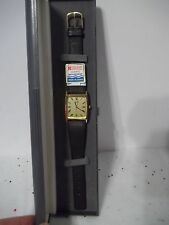 Vintage Ricoh Quartz Water Resistant Japan Sq. Gold Face Black Leather Strap NOS
