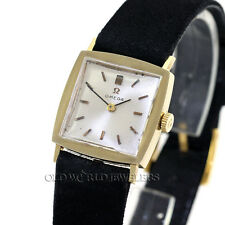 Omega Vintage Tuxedo Dress Watch Ref 6696 14K Gold Box Papers Sales Receipt