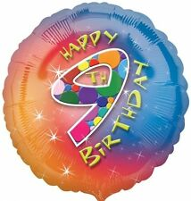 "Happy 9th Birthday Foil Balloon - Multi-Coloured 17"" {Anagram} (Helium/Party)"