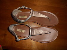 Simply Vera Wang Silver Gold Studded Spike T-Strap Sandals Women's Size 9.5