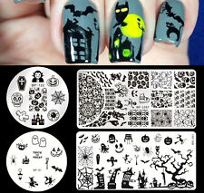4pcs/set Born Pretty Halloween Nail Art Stamping Schablonen Nagel Template Kit