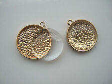 5Sets Gold Plated Round Alloy Pendant Tray Settings 22mm Blanks W Glass Cabochon