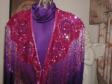 SEQUIN SHAWL WRAP RED & PURPLE GLITTERING RED HAT SOCIETY LOVELY FLORAL PATTERN