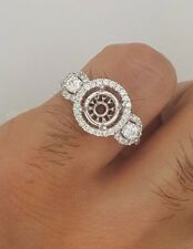 18K WHITE GOLD DIAMOND ROUND SEMI MOUNT THREE STONE ENGAGEMENT SETTING RING 6.5