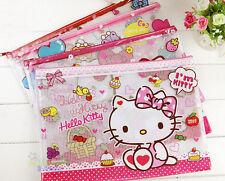 4pcs Cute Hello Kitty A4 File Bag Case Organizer Folder(buy 1 get 1 pen for free