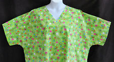 Green Daisy Flowers Polka Dots Scrub Top 4XL Plus Size Nurse Uniform Aide