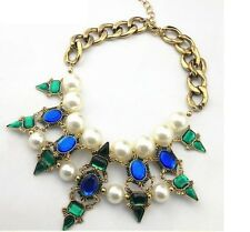 Large Pearl Blue Crystal Gold Metal Spike Zara Designer Statement Necklace N271