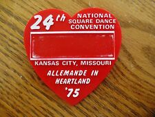 1975 National Square Dance Convention 24th Plastic Pinback Button Kansas City MO