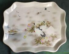 Céramique du Japon Plat en porcelaine de Kutani signé Shirota Grues au Mont Fuji