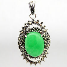 30X20mm Genuine Oval Green Jade Marcasite 925 Sterling Silver Pendant Jewelry