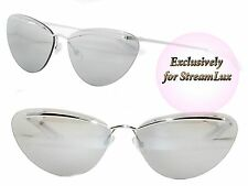 CHRISTIAN DIOR Designer Cat Eye Sunglasses DIORETTE 010SS Silver Grey Mirrored