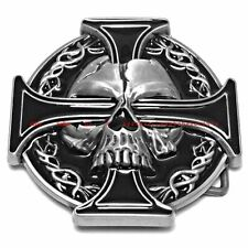 SBU1795 IRON CELTIC CROSS EVIL DEVIL DEMON SKULL TATTOO STYLE BIKER BELT BUCKLE