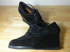 Womens shoes size 6 Chie Mihara designer black suede 3 inch wedges,ladies size 6