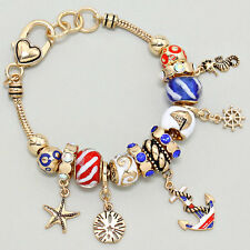 Anchor Beaded Charm Bracelet GOLD RED Patriotic SandDollar Starfish Helm Jewelry