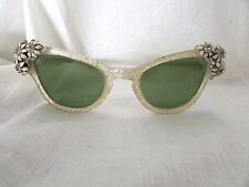 VINTAGE  1950-1960 LUCITE AND RHINESTONE GREEN GLASS SUNGLASSES