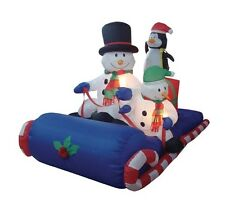Christmas Inflatable Snowman Penguin Sleigh Sled LED Lights Outdoor Decoration