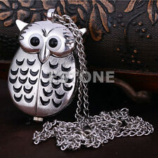 Lovely Cute Retro Silver Owl Pendant Necklace Quartz Chain Pocket New Watch