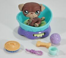 Littlest Pet Shop Pug 889 Accessories Bed Food Bone Rope Toy Lot