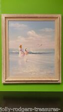 Paul Watkins Original Seascape Painting Mother & Daughter on Beach Framed