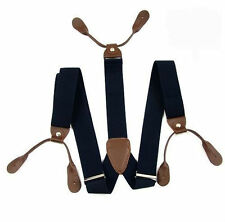 Blu Navy con marrone Unisex Bretella Regolabile con bottoni Buchi - venditore UK