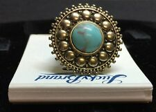 New Women's Lucky Brand Gold Turquoise Regal Island Ring Size 7 Free Shipping