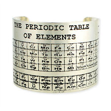 PERIODIC TABLE OF ELEMENTS BRACELET Wide Cuff Silver Tone Metal NEW Science Nerd