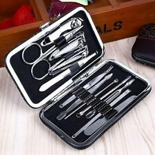 12PCS Pedicure/Manicure Set Nail Clippers Cleaner Cuticle Grooming Kit Case 1v