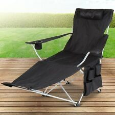 Black Folding Recliner Camping Chair with Cup Holder and Pouches
