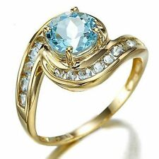 Jewellry Size 8 Round Cut Aquamarine 18K Gold Filled Fashion Rings For Womens