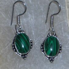 """GREEN MALACHITE 925 SILVER PLATED EARRING 1.75"""""""