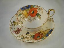 Beautiful AYNSLEY Cup & Saucer Handpainted Poppy Poppies RARE!!!