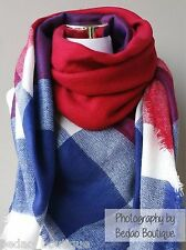Blanket scarf, Oversized Scarf, Zara, Tartan Scarf by Bedao (Red, Royal Blue)