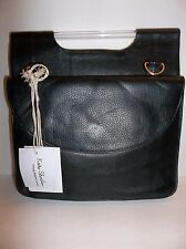 Anthropologie  Kate Sheridan Black Leather Lucite Bar Bag Perspex handle new