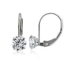 14K White Gold 1.00 CTTW Cubic Zirconia Round Leverback Earring, 5mm