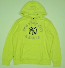 Mens NEW AE American Eagle Hi Vis Yellow Popover Hoodie Sweatshirt Size L Large