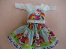 """Blythe/Skipper Outfit Clothing """"Hello Kitty"""" Rainbow Print Skirt & Top"""