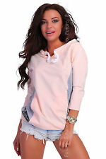 Ladies Casual Blouse 3/4 Sleeve Boat Neck Hoodie Jumper 2-Color Size 8-12 FT2162