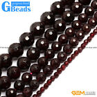 "Free Shipping Round Faceted Garnet Beads Jewelry Making Loose Beads 15"" 4-12mm"
