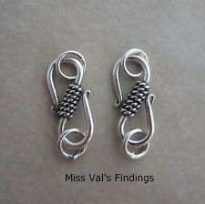 2 sterling silver Bali rope S hook jewelry clasp 17mm
